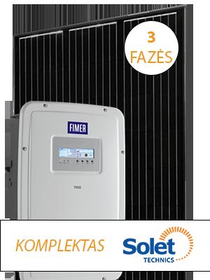 3 fazis saulės elektrinės komplektas iki 10 kW skaidriame fone