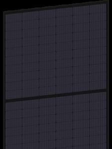Solet 370MH3-60 juodas saulės modulis skaidriame fone SOLET TECHNICS PHOTOVOLTAICS