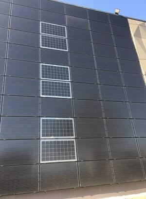 saules elektrine fasade, ventiliuojama