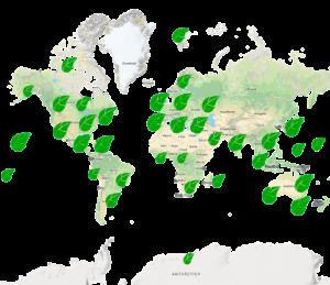 Tigo Energy paplitimo žemėlapis